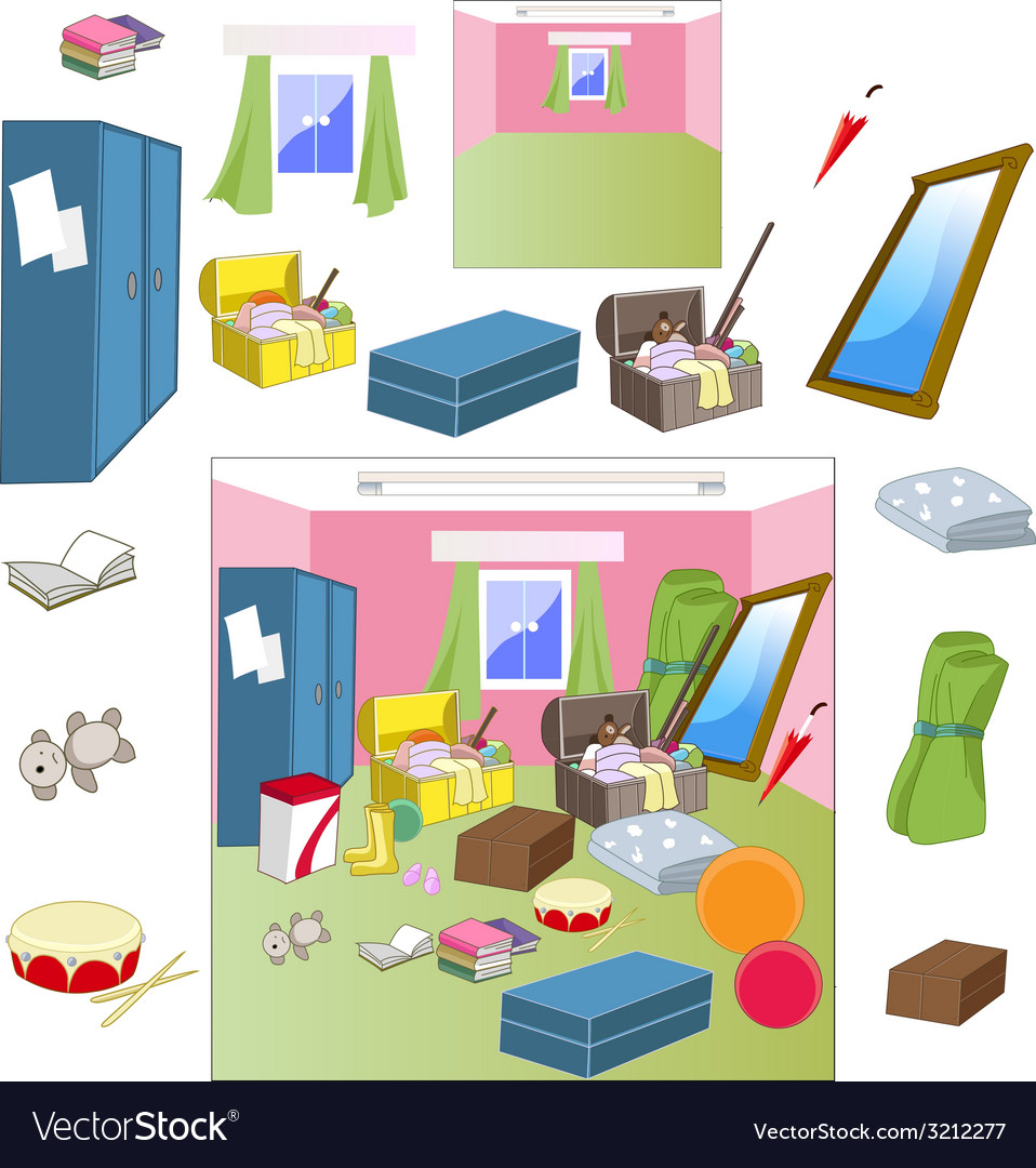 Attic room with worn accessories vector | Price: 1 Credit (USD $1)