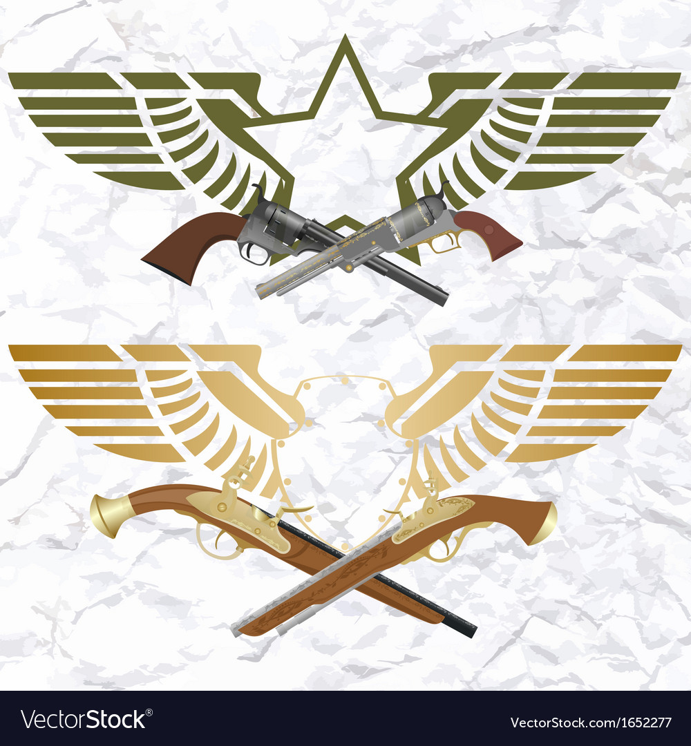 Badges with wings and arms vector | Price: 1 Credit (USD $1)