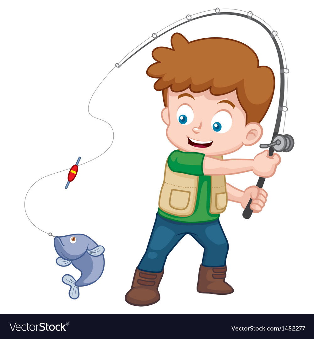 Boy fishing vector | Price: 1 Credit (USD $1)