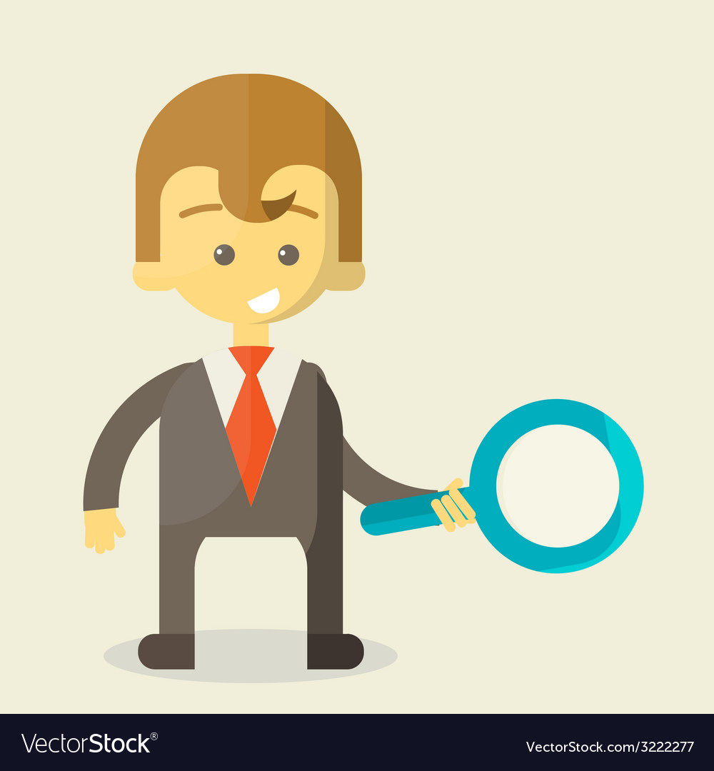 Businessman with a magnifying glass looking for vector | Price: 1 Credit (USD $1)