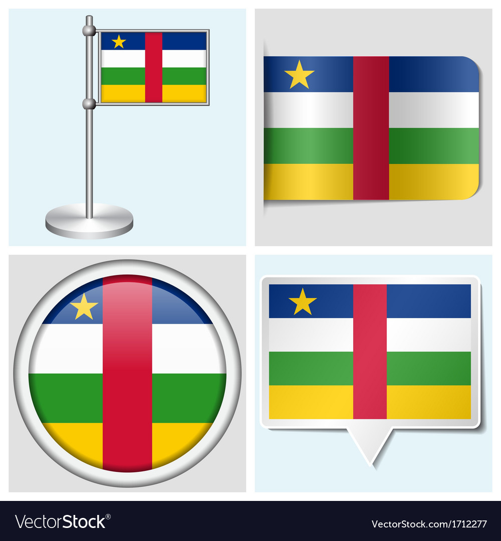 Central african republic flag - sticker button vector | Price: 1 Credit (USD $1)