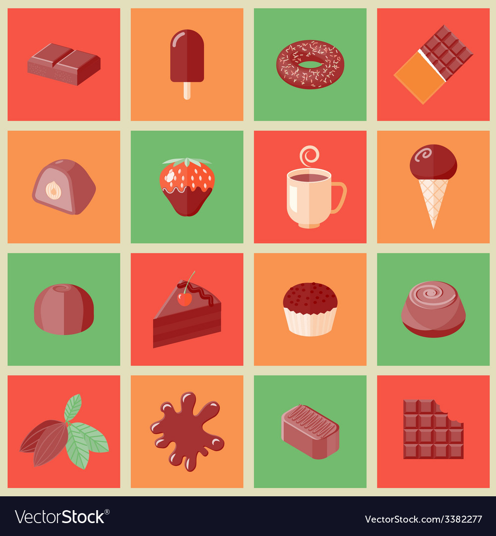 Chocolate icons flat vector | Price: 1 Credit (USD $1)