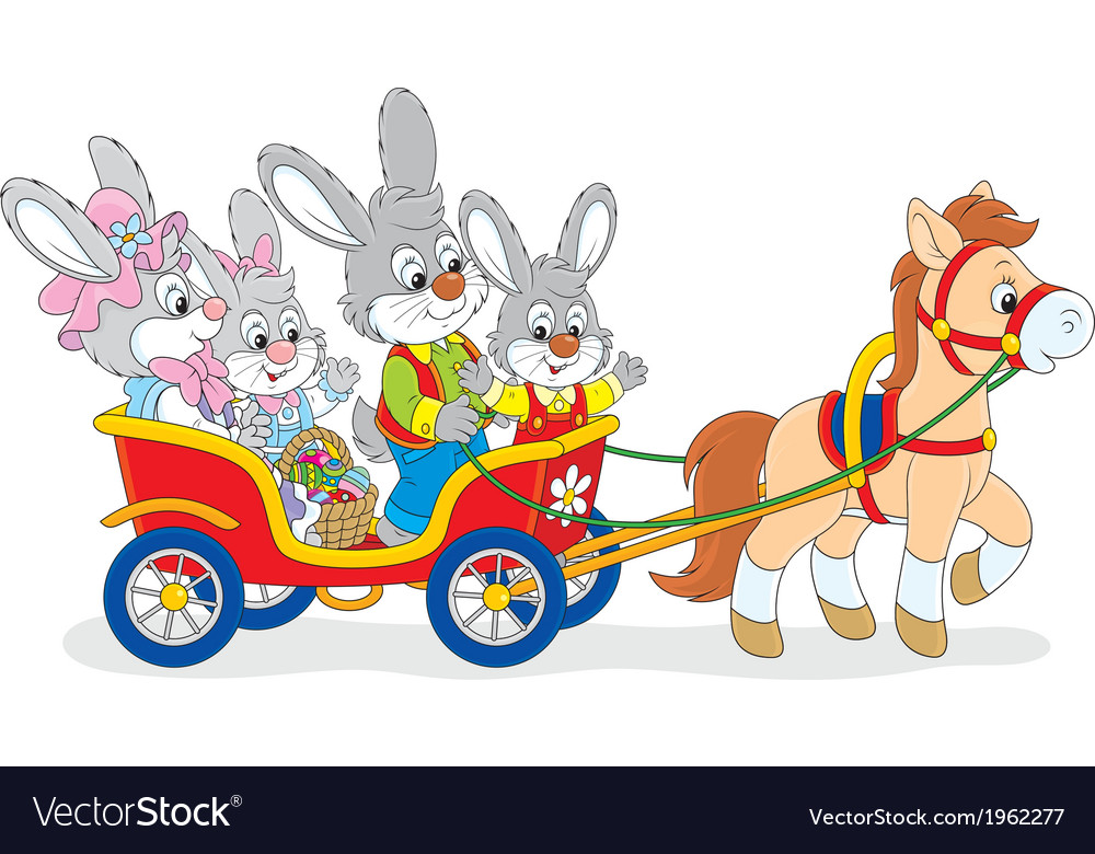 Easter bunnies riding a pony carriage vector | Price: 1 Credit (USD $1)