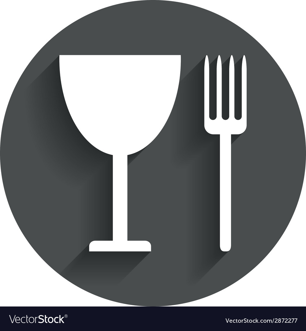 Eat sign icon cutlery symbol fork and wineglass vector | Price: 1 Credit (USD $1)