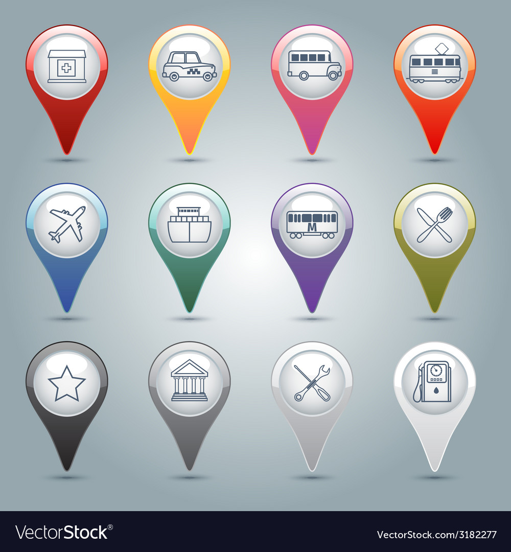 Gps markers set vector | Price: 1 Credit (USD $1)