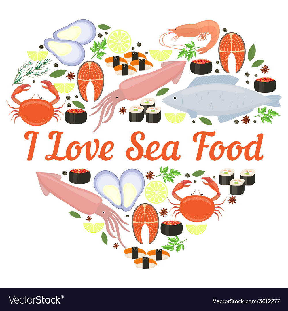 I love seafood heart design vector | Price: 1 Credit (USD $1)