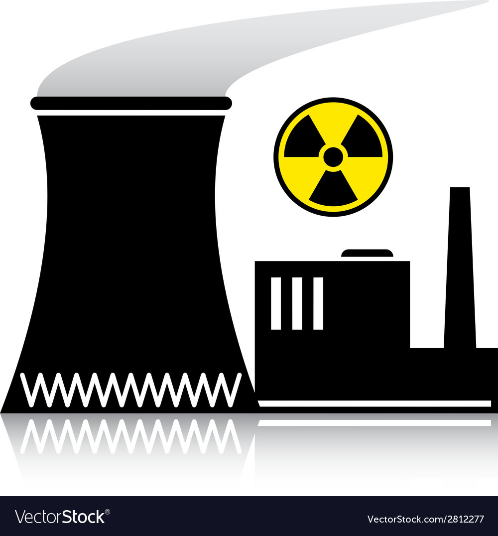 Nuclear power plant silhouette vector | Price: 1 Credit (USD $1)