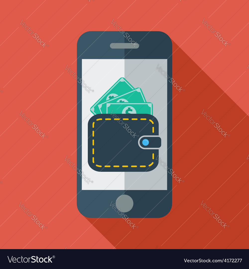 Phone with wallet vector | Price: 1 Credit (USD $1)