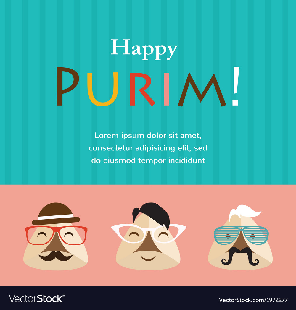 Purim party invitation with hipster haman ears vector | Price: 1 Credit (USD $1)