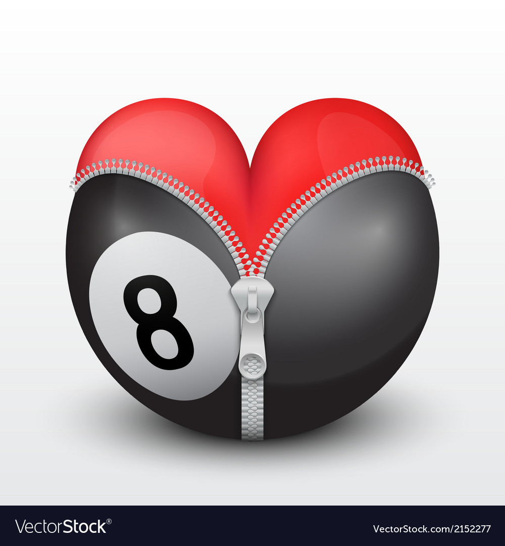 Red heart inside billiard ball vector | Price: 1 Credit (USD $1)
