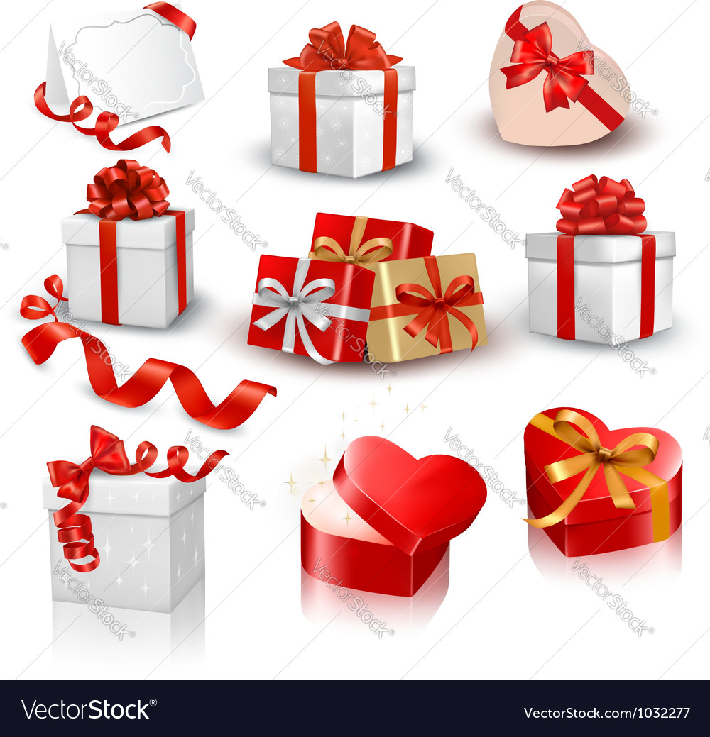 Set of colorful gift boxes with bows and ribbons vector | Price: 3 Credit (USD $3)