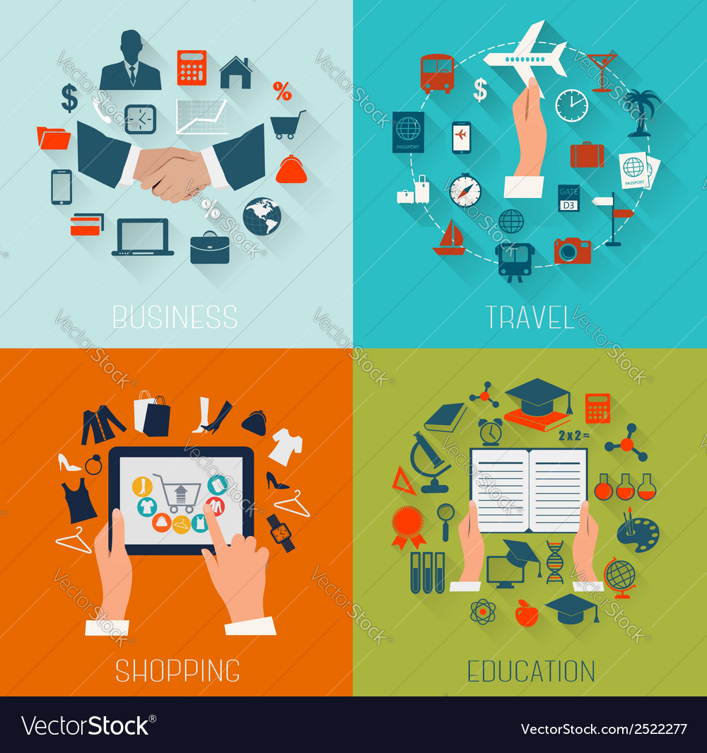 Set of flat design backgrounds for education vector   Price: 1 Credit (USD $1)