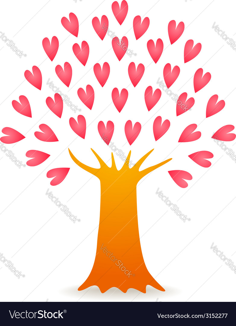 Tree love pink vector | Price: 1 Credit (USD $1)