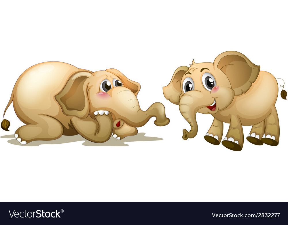 Two playful elephants vector | Price: 1 Credit (USD $1)