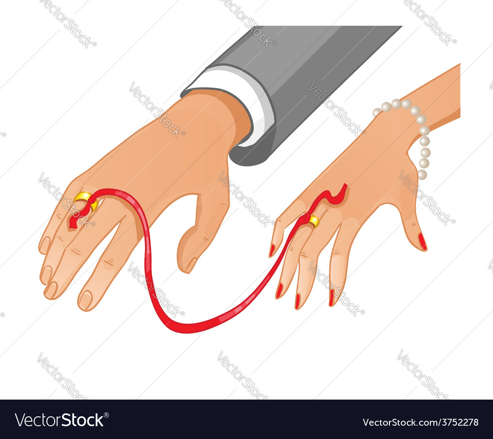 Betrothal ceremony with red ribbon vector | Price: 1 Credit (USD $1)