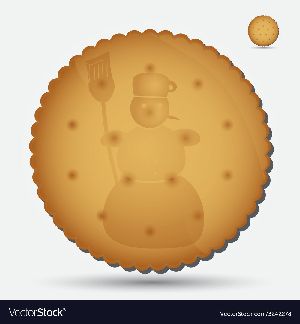 Christmas brown biscuit with snowman symbol eps10 vector | Price: 1 Credit (USD $1)