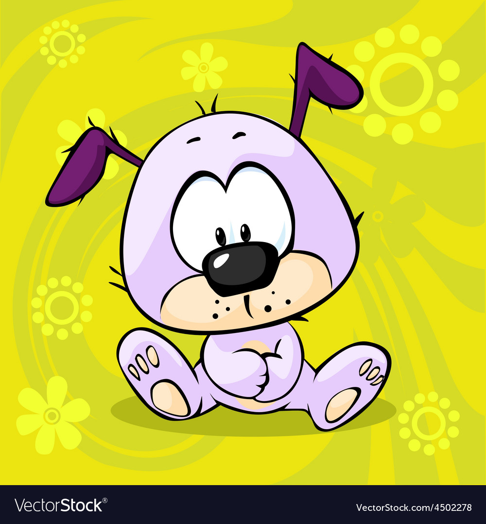 Cute pupy sitting on funny abstract background vector | Price: 1 Credit (USD $1)