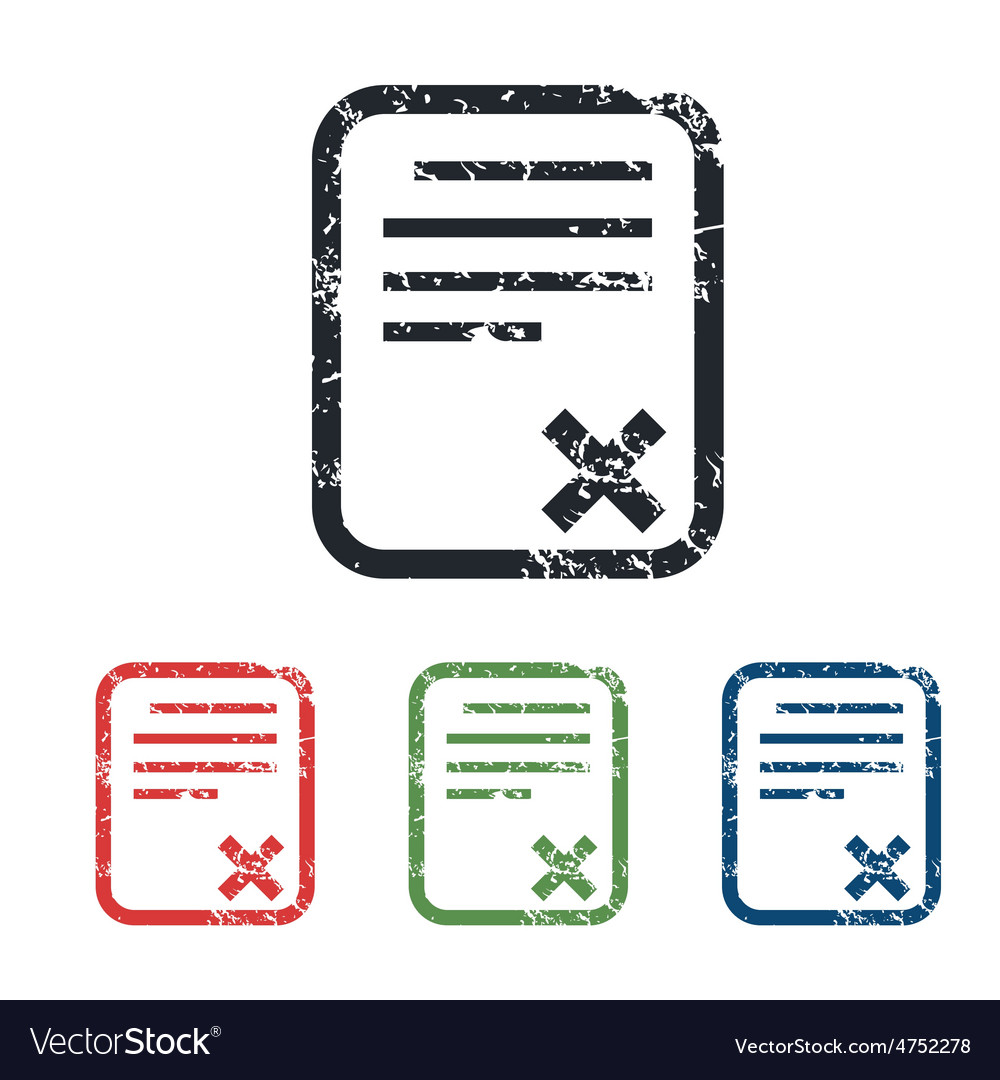 Declined document grunge icon set vector   Price: 1 Credit (USD $1)
