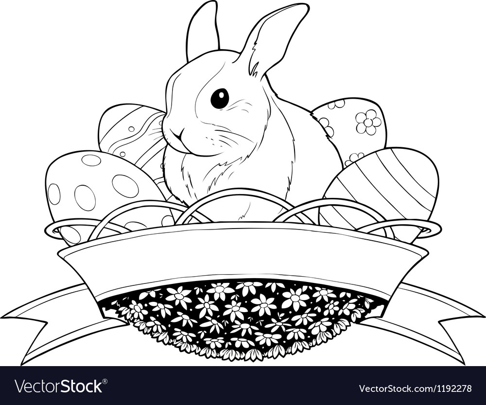 Easter bunny rabbit in basket vector | Price: 1 Credit (USD $1)