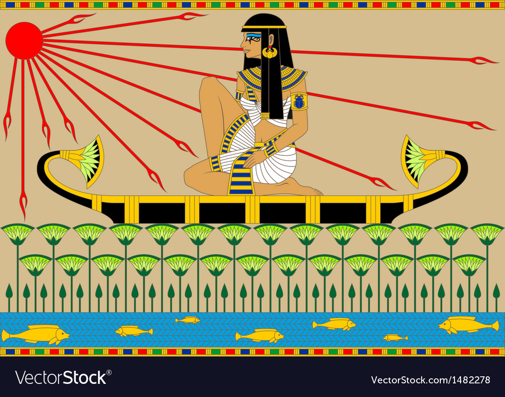 Egyptian girl on the boat vector | Price: 1 Credit (USD $1)