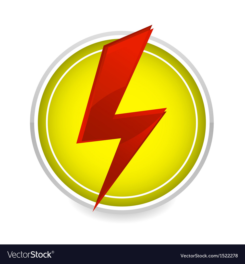 Energy power sign red color on the white vector | Price: 1 Credit (USD $1)