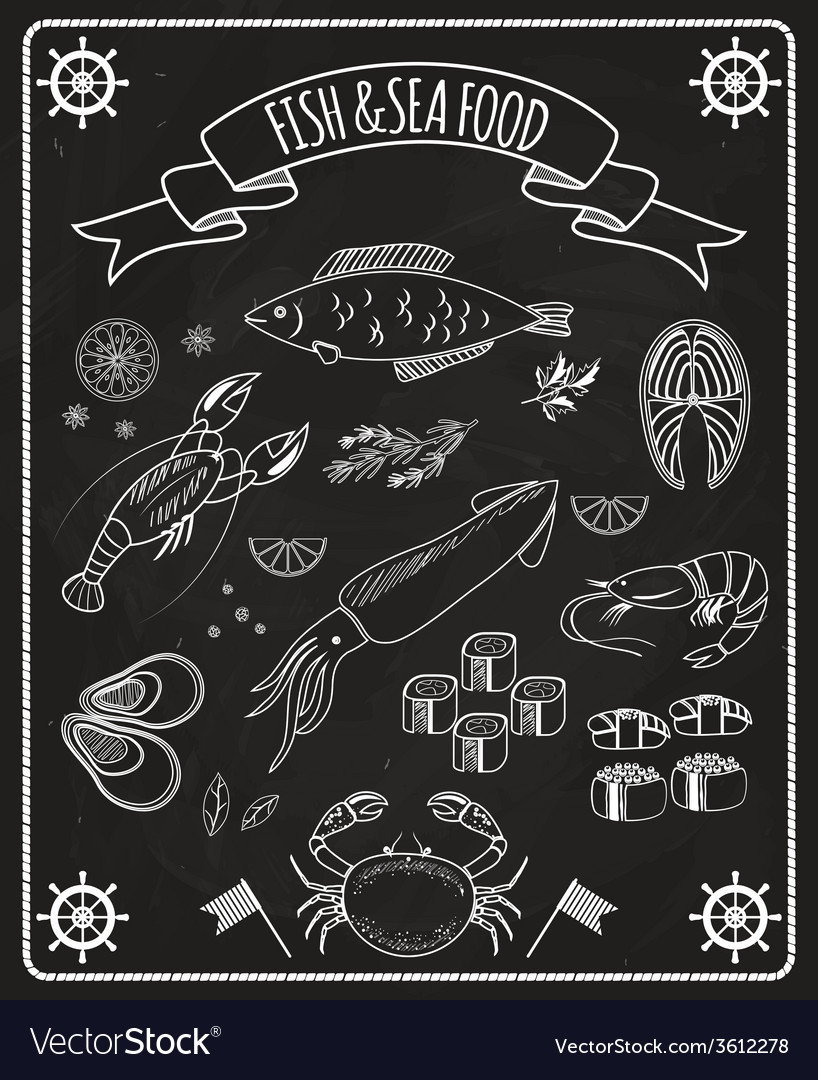 Fish and seafood blackboard elements vector | Price: 1 Credit (USD $1)