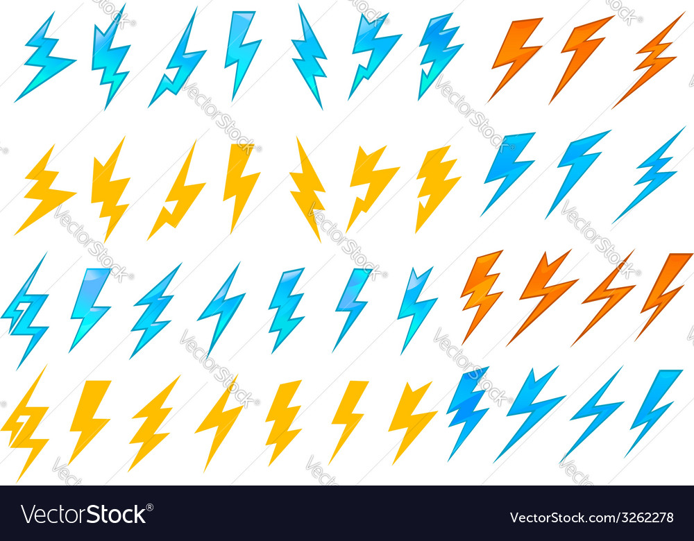 Lightning bolts or electrical icons vector
