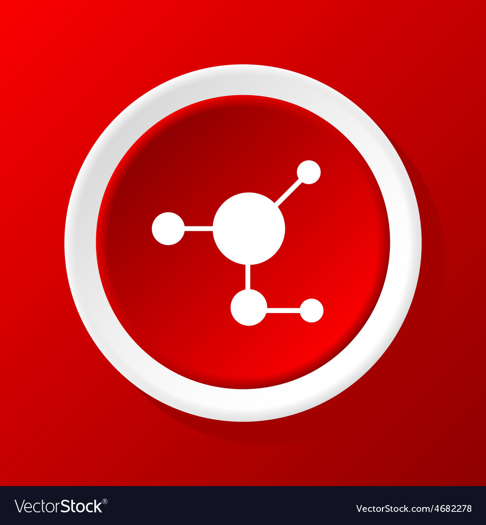 Molecule icon on red vector | Price: 1 Credit (USD $1)
