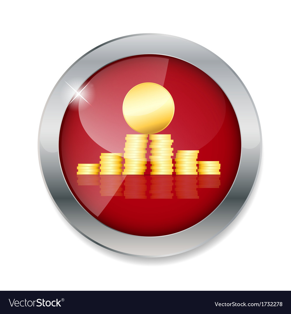 Money gold coins button vector | Price: 1 Credit (USD $1)