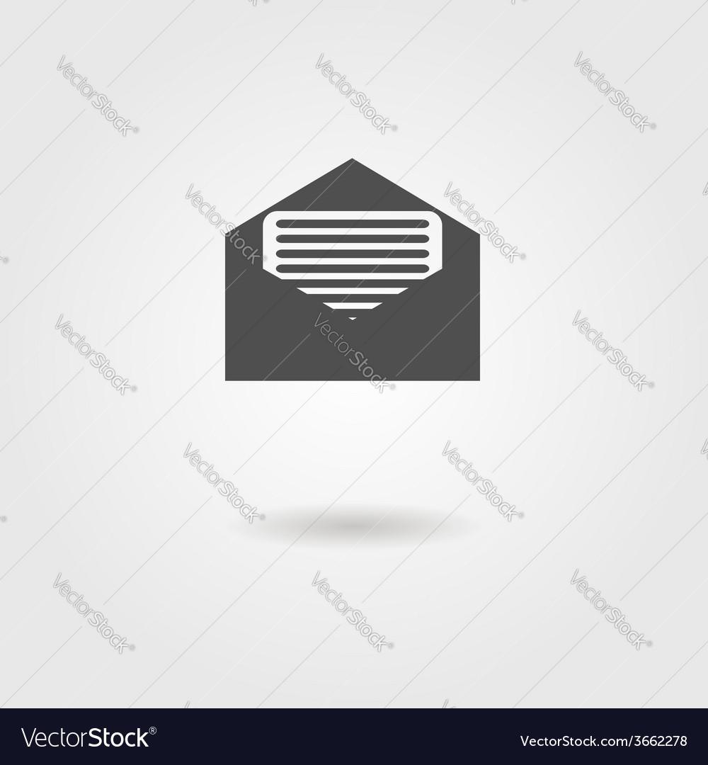 Open envelope black icon with shadow vector | Price: 1 Credit (USD $1)