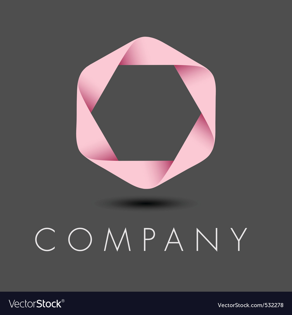 Pink hexagon ribbon logo vector | Price: 1 Credit (USD $1)