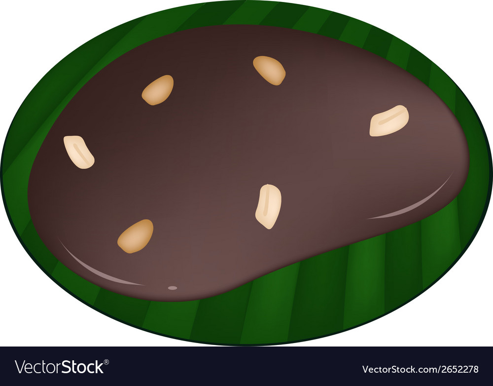 Thai caramel on a banana leaf container vector | Price: 1 Credit (USD $1)