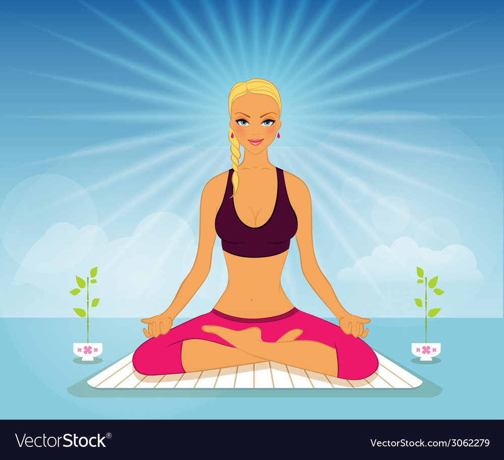 Beautiful woman doing yoga practice vector | Price: 1 Credit (USD $1)