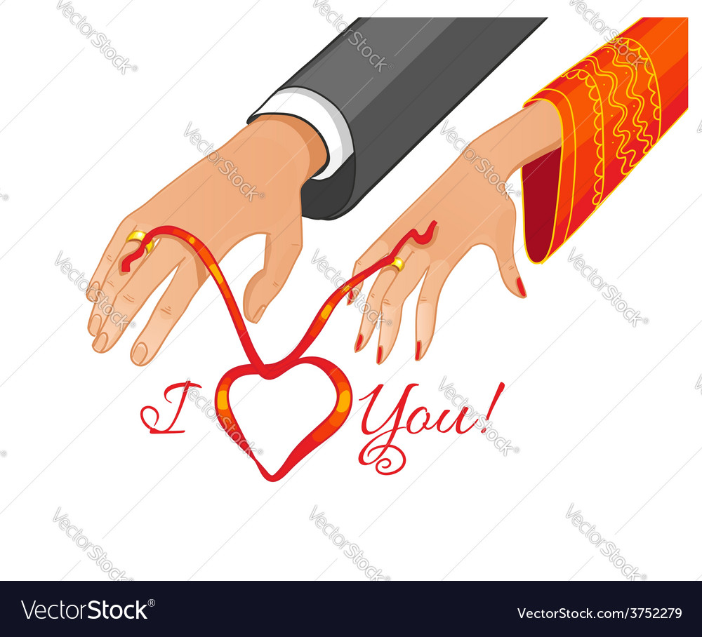 Betrothal ceremony with red ribbon vector   Price: 1 Credit (USD $1)