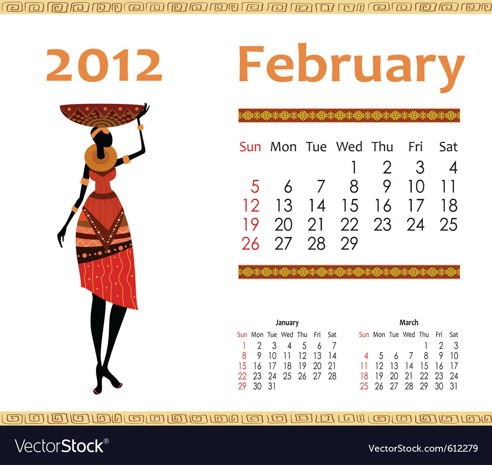 Calendar for 2012 with an african woman vector | Price: 1 Credit (USD $1)