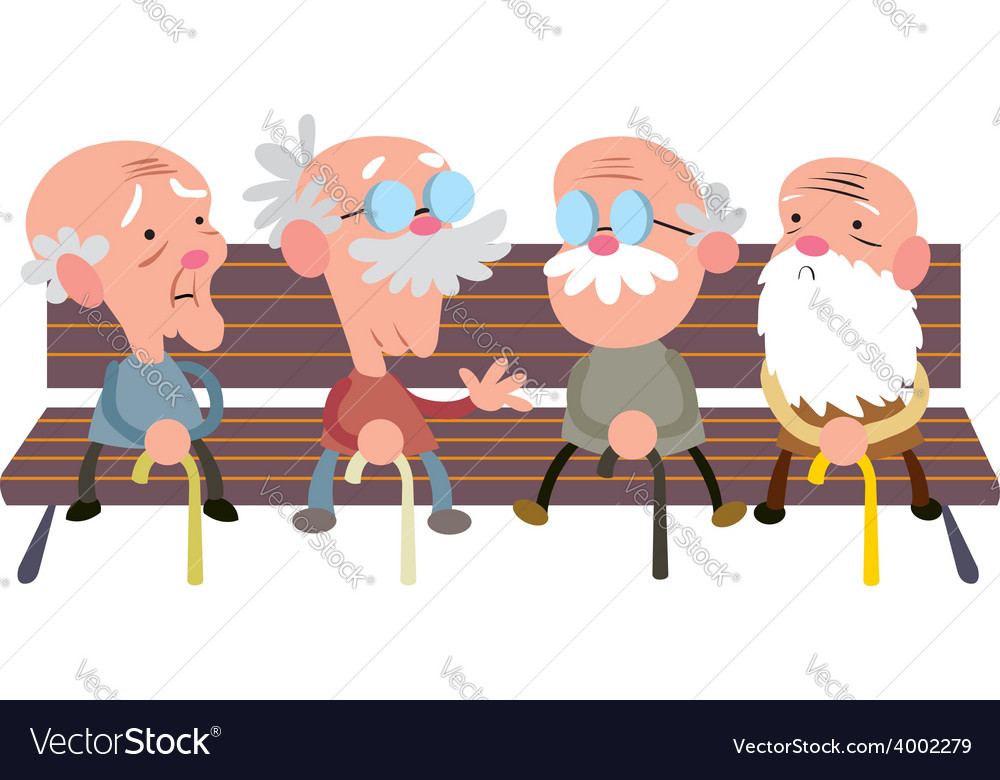 Elderly people on a bench vector | Price: 1 Credit (USD $1)