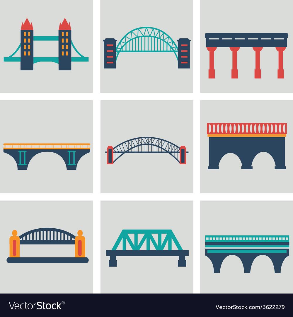 Isolated bridges big icons set vector | Price: 1 Credit (USD $1)
