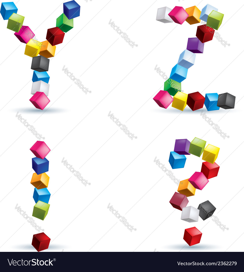 Letters and signs made of colored blocks vector | Price: 1 Credit (USD $1)
