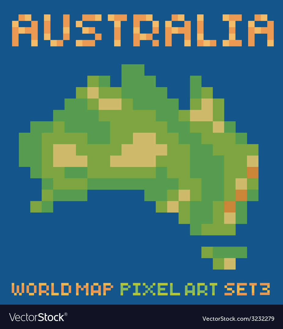 Pixel art style of continent australia physical vector | Price: 1 Credit (USD $1)