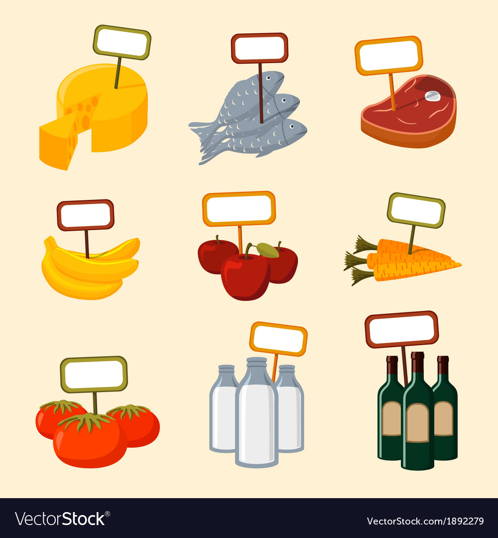 Supermarket foods items with blank signs vector | Price: 1 Credit (USD $1)