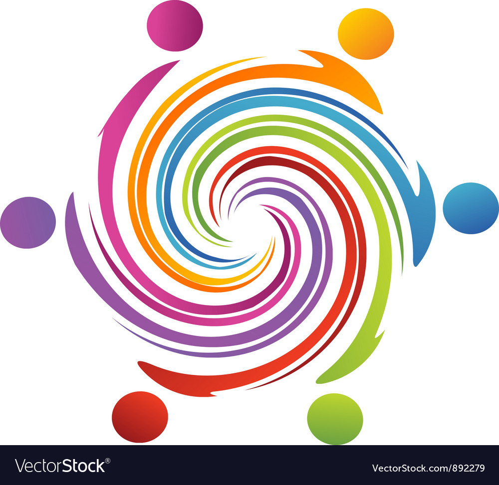 Teamwork swirl rainbow vector | Price: 1 Credit (USD $1)