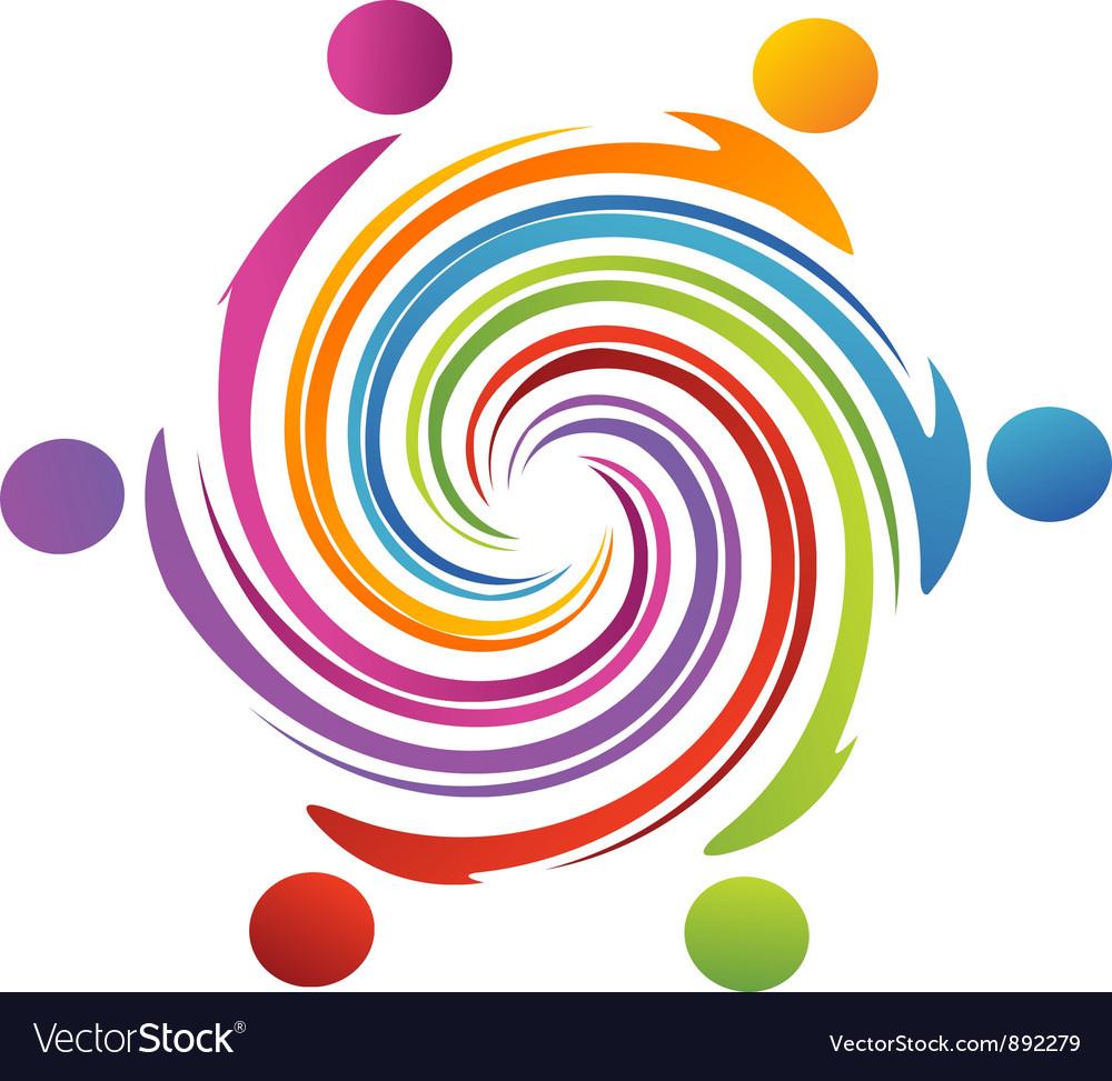 Teamwork swirl rainbow vector | Price: 1 Credit (USD $1)