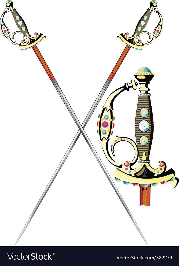 Two crossed ceremonial sword vector | Price: 1 Credit (USD $1)