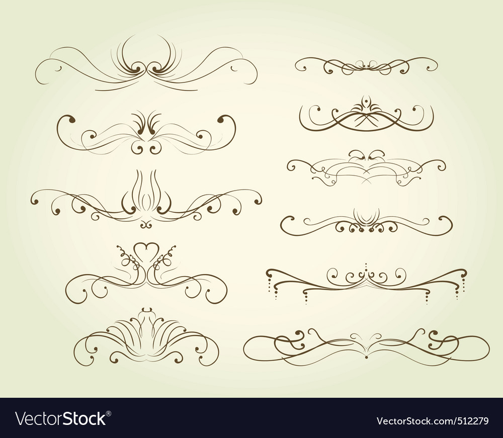 Vintage decorative swirls vector | Price: 1 Credit (USD $1)