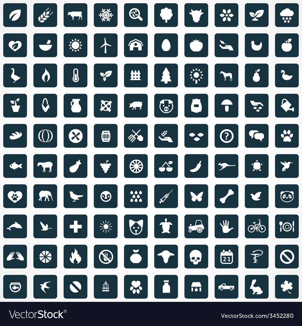 100 ecology icons vector | Price: 1 Credit (USD $1)