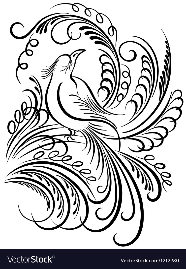 Bird calligraphy vector | Price: 1 Credit (USD $1)