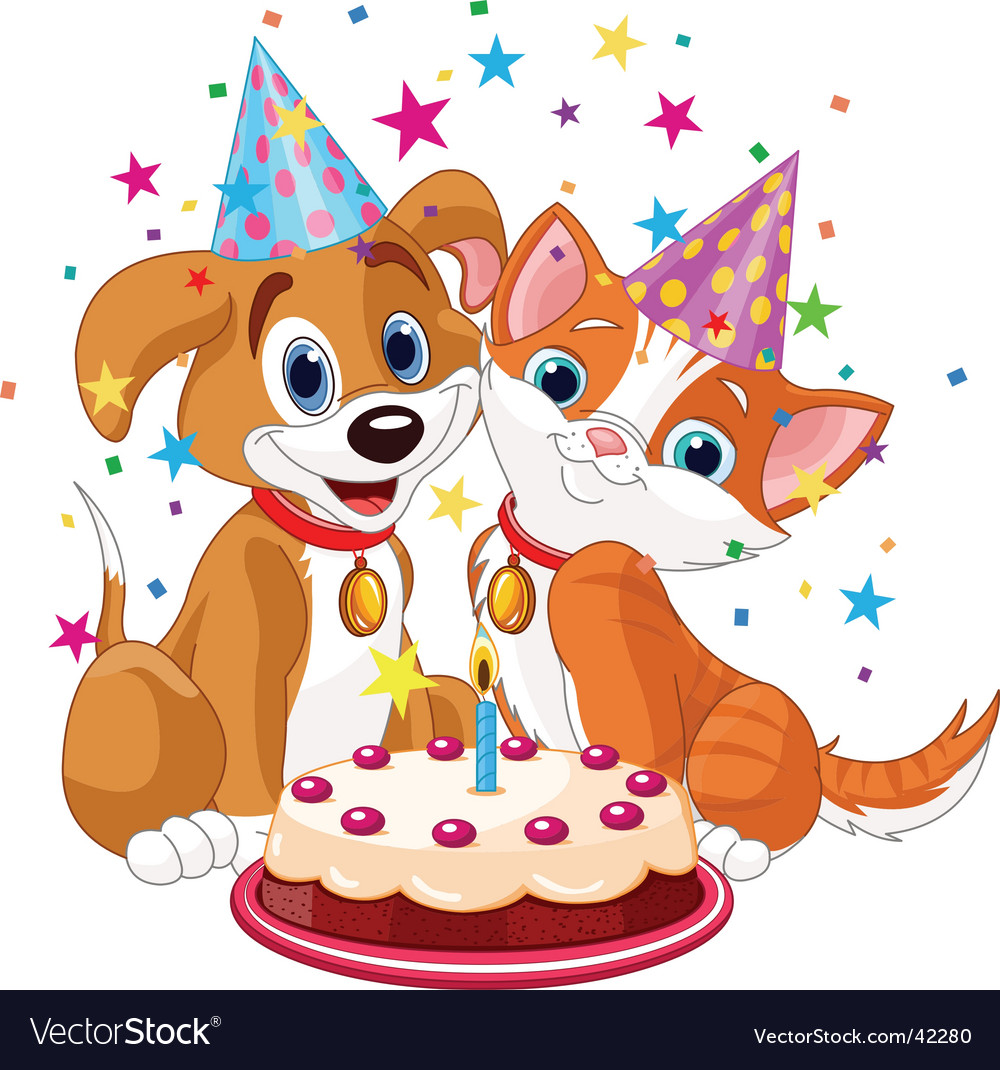 Birthday party dog and cat vector | Price: 3 Credit (USD $3)