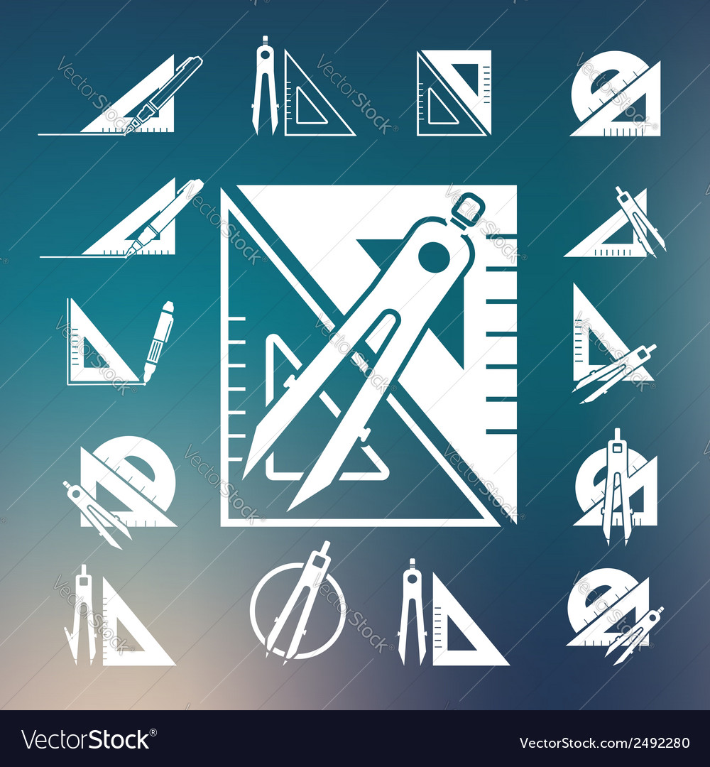Drawing compass icon set vector | Price: 1 Credit (USD $1)