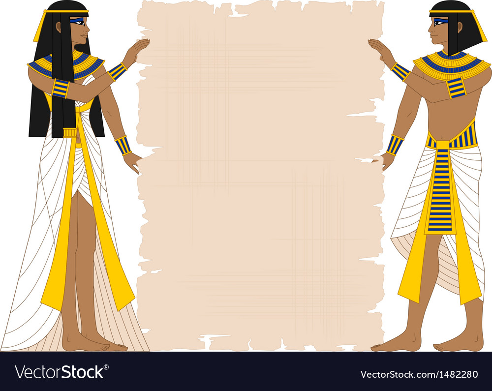 Egyptian woman and man holding papyrus vector | Price: 1 Credit (USD $1)
