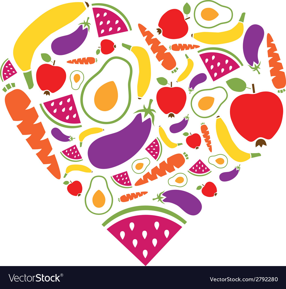Fruits and vegetables heart vector | Price: 1 Credit (USD $1)